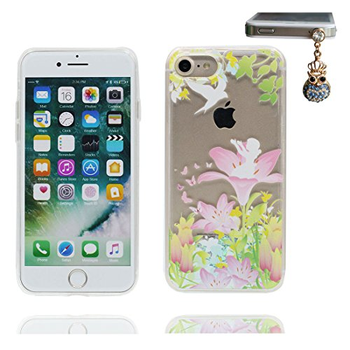 """iPhone 7 Plus Coque, iPhone 7 Plus étui Cover 5.5"""", Bling Bling Glitter (Lis Lily) Fluide Liquide Sparkles Sables, iPhone 7 Plus Case, Shell anti- chocs & Bouchon anti-poussière"""