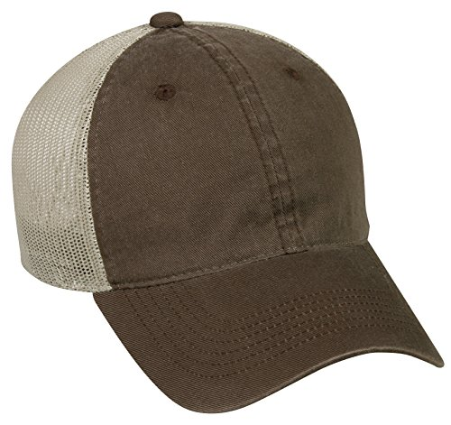- Outdoor Cap Garment Washed Meshback Cap, Brown/Tan, One Size