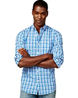 Tommy Hilfiger Stam Plaid Long Sleeve Bright Blue Button Down Shirt Large