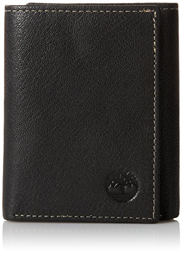 - 51GOxnW7QQL - Timberland Mens Leather Trifold Wallet With ID Window