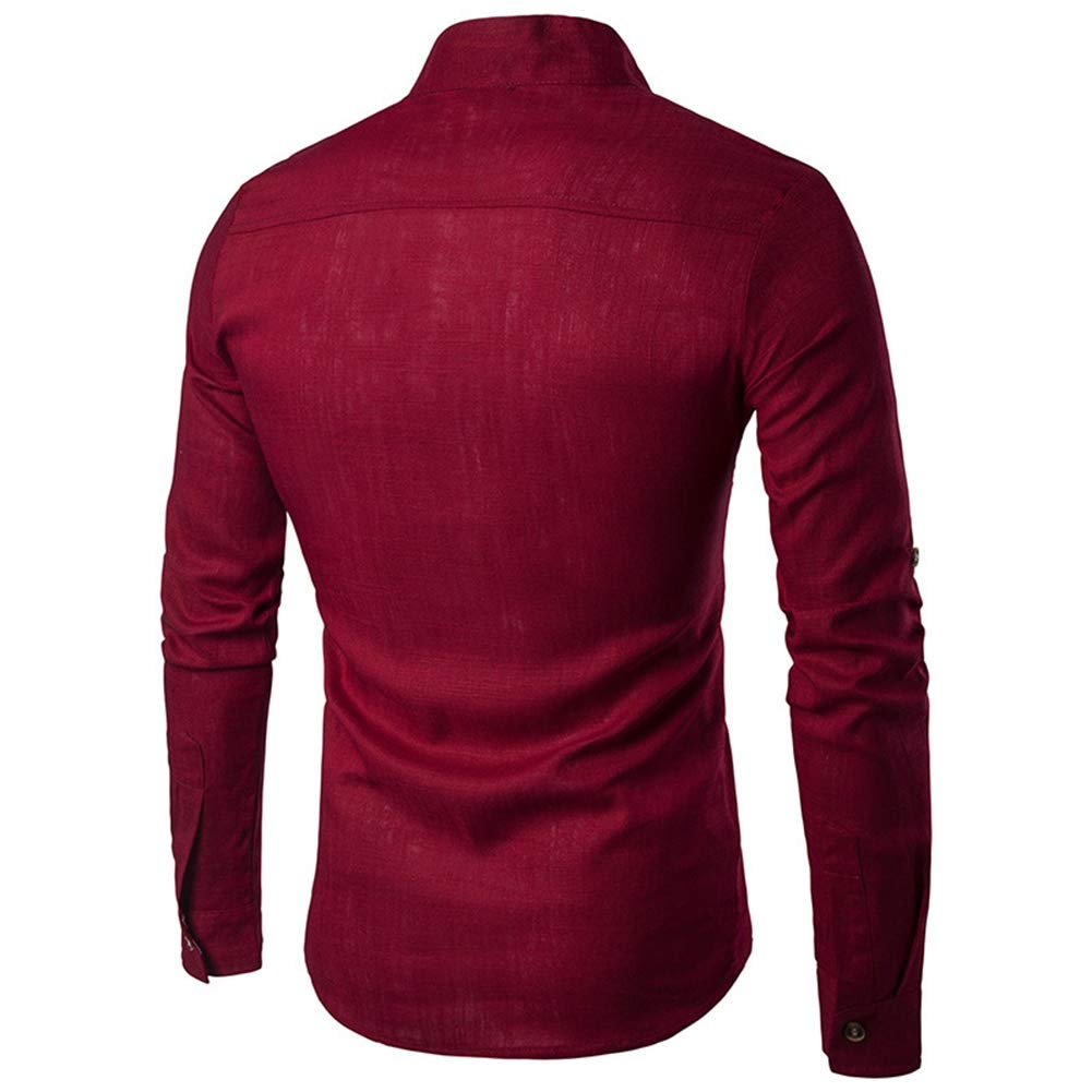Effacer Men Fashionable Blouse Stand Collar Long Sleeve Casual Solid Color Cotton Shirt