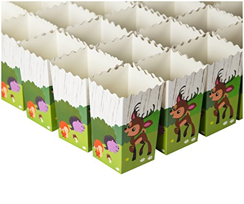 Set of 100 Popcorn Favor Boxes - Woodland Animal Party Theme Design, Paper Popcorn and Candy Containers, Popcorn Party Supplies for Movie Nights, Carnival Parties - 3.3 x 5.5 x 3.3 Inches