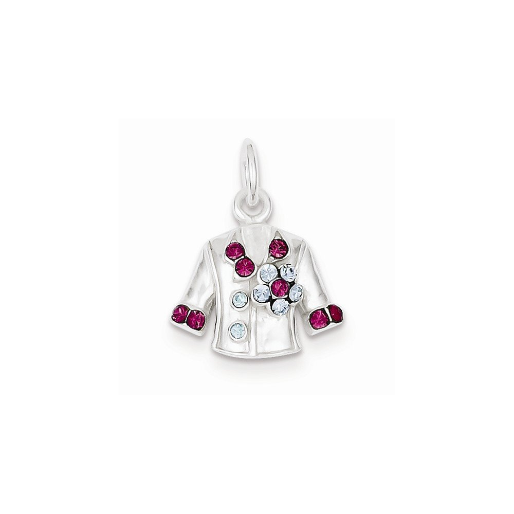 Sterling Silver Crystal Jacket Charm (0.5in)