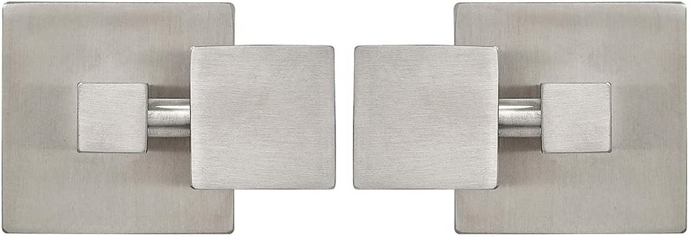 Hamilton Hills Square Brushed Silver Pivot Mirror Hardware Tilting Anchors for Mirror or Picture Glass or Plexiglass