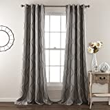 2 Piece 84 Inch Silver Grey Girls Swirl Stripe Curtains Pair Panel Set, Gray Color Drapes Striped Wave Pattern Window Treatments, Stylish Contemporary Themed Vertical Lines Design Kids Teen Polyester