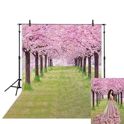 (Allenjoy 5x7ft Spring Photography Easter Backdrop Fairytale Dreamy Magical Cherry Blossoms Tree Green Grass Photography Background )