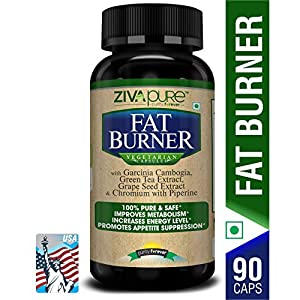 Zivapure Advanced Fat Burner & Natural Weight Loss Supplement for Men and Women with Garcinia Cambogia + Green Tea + Piperine Extract & Chromium – 90 Veg Capsules