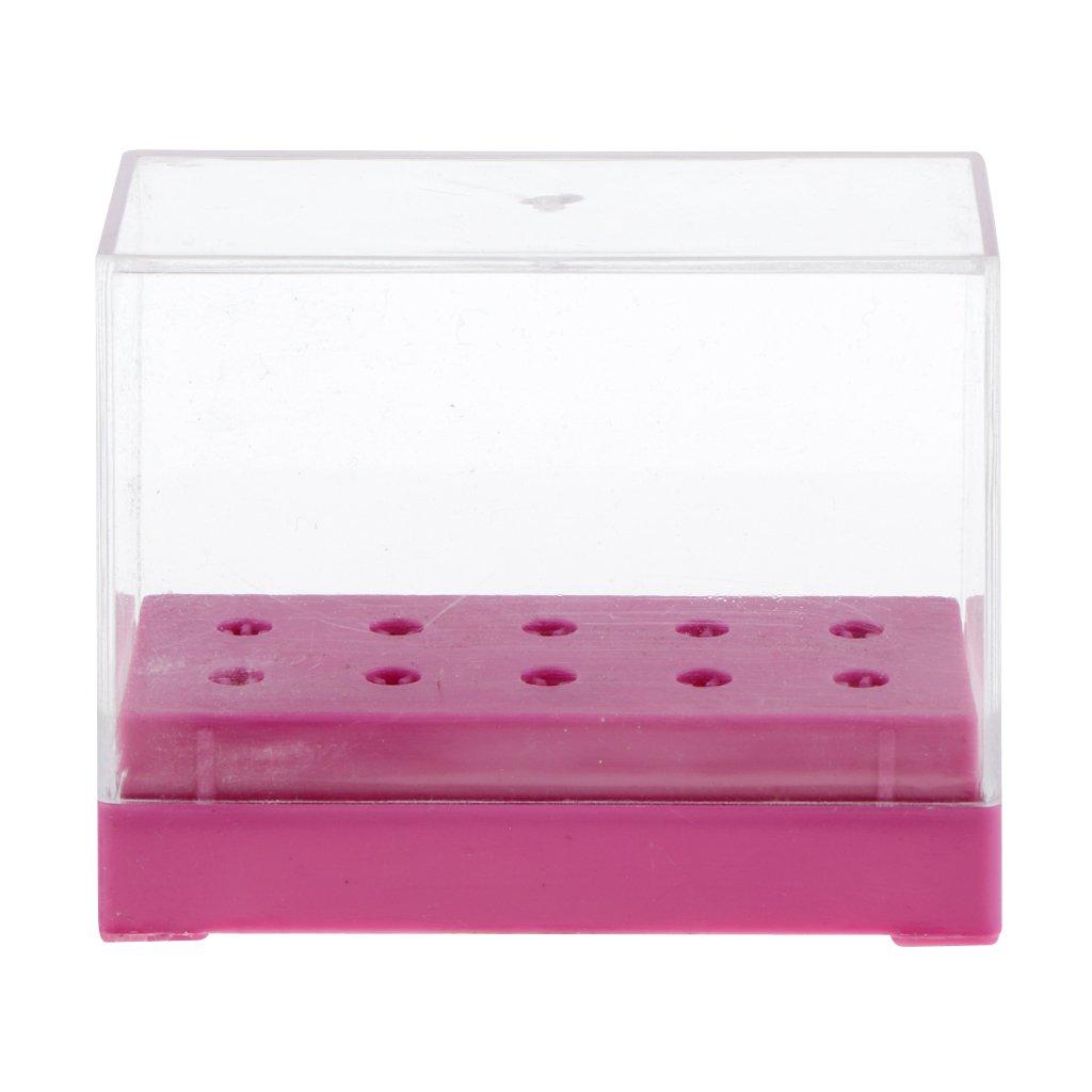 Sharplace 10 Agujeros Caja de Presentación de Manicura Organizador de Sostenedor de Pedacito de Broca de Uña - Blanco