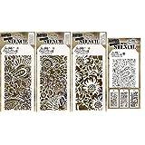 Tim Holtz Stencils Set - Doodle Art 1, Doodle Art 2 and Bouquet + Mini Stencils - 4 Item Bundle