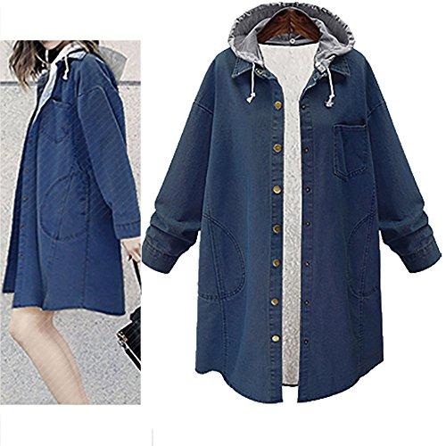 tamaño chaqueta chaqueta de Chaqueta Abrigo la de las la de del mujeres floja de larga la de extra cachemira AIMEE7 Azul Mujer la Punto grande largo capa wq7wrTBv