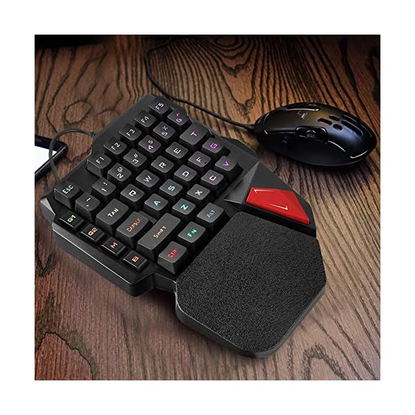 ASHATA Single Hand Gaming Keyboard,Multi-Function Ergonomic Wrist Rest One-Handed Gaming Keyboard with Rainbow Backlight…