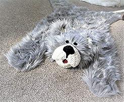 Gray Bear Rug Faux Fur Nursery Decor (33...