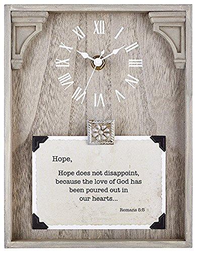 Hope - Romans 5:5-7''X9'' Framed Tabletop Clock. by AT001