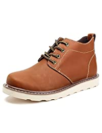 SUNROLAN Adair Men's Leather Ankle Boots Lace-Up Chukka Combat Work Outdoor Boots Black/Light Brown