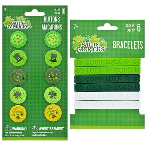 St Patrick's Day Rubber Wrist Bands and Decorative Buttons