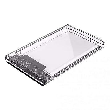 Ogquaton Caja de Disco Duro Externo 2.5 SSD/HDD Caddy USB 3.0 Caja de Disco Duro portátil de Estado sólido portátil Caja de 2TB máxima Transparente
