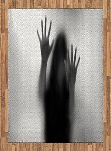 Horror House Area Rug by Lunarable, Silhouette of Woman behind the Veil Scared to Death Obscured Paranormal Photo Print, Flat Woven Accent Rug for Living Room Bedroom Dining Room, 5.2 x 7.5 FT, Gray by Lunarable