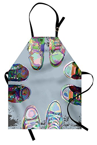(Ambesonne Modern Apron, Teen Rubber Rebel Rocker Shoes in Street Squad Friends Gang Abstract Image Print, Unisex Kitchen Bib with Adjustable Neck for Cooking Gardening, Adult Size, Baby Blue )