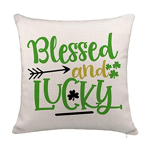YOENYY St. Patricks Day Throw Pillow Cover Cushion Case for Sofa Couch Blessed and Lucky Home Decor Cotton Linen 18