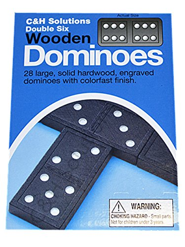C&H Solutions Double 6 Dominoes Black With White Dots Wooden Dominoes 28 PCS By C&H