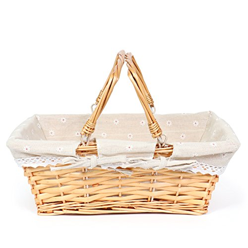 MEIEM Wicker Basket with Fabric Lining