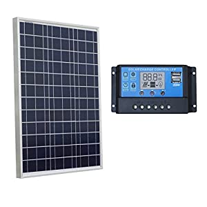 ECO-WORTHY-12-Volt-50-Watt-Solar-Panel-Kits-1pc-50W-Polycrystalline-PV-Solar-Module-20-Amp-Solar-Charger-Controller-with-LCD