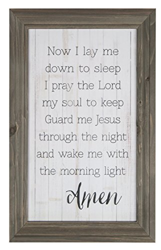 P. Graham Dunn Now I Lay Me Down to Sleep Grey Distressed 11.5 x 18 Wood Framed Wall Sign Plaque