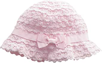 Denzerekre Soft Cotton Lace Breathable Sun Protective Bucket Hat Summer Outdoor Beach Princess Cap for Toddler Baby Kids Girls