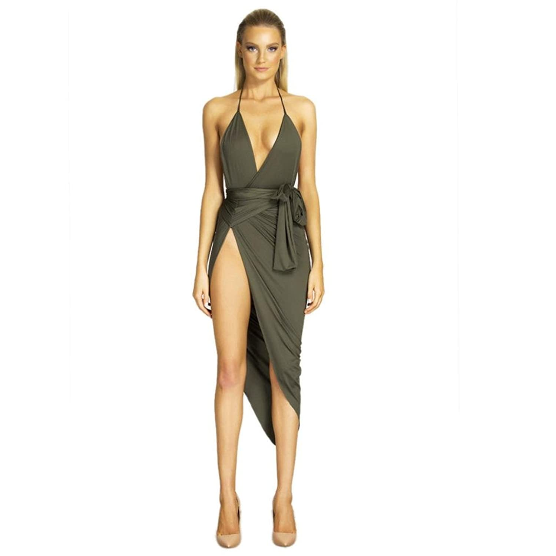 Bolayu Sexy V Neck Backless Dress High Waist Belt Split Dresses Bandage