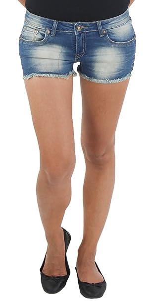 Damen Stoff Stretch Capri Kurze 3//4 Jeans Hose Shorts Bemuda Hüft Sommer