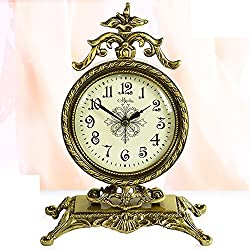 European antique style clock/ silent clock/ modern living room decoration/ fashion creative clock/ bedroom-brass clock table
