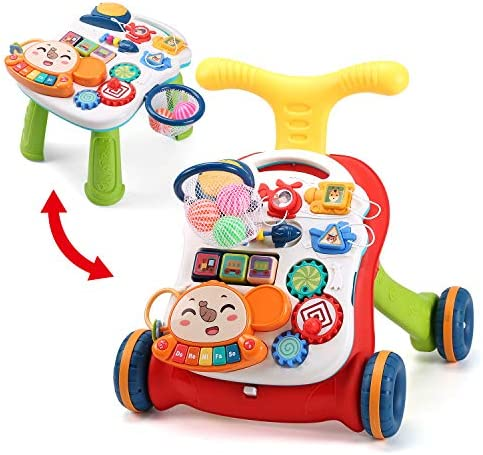 CUTE STONE Sit-to-Stand Learning Walker,3 in 1 Baby Walker,Kids Early Educational Activity Center,Multifunctional Removable Play Panel,Baby Music Learning Toy Gift for Infant,Boys,Girls