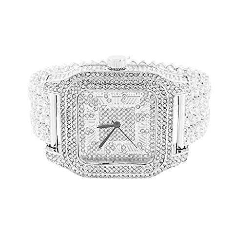 Mens White Square Watch Simulated Diamonds Fully Iced Out Elegant Joe Rodeo Jojo (Iced Out Square Watch)