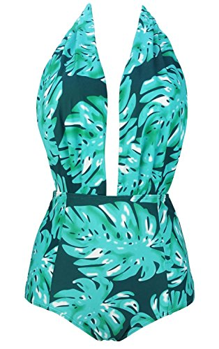 a3848fa590 COCOSHIP Cadet Blue   Green Water Plant Leaves Retro One Piece Backless Bather  Swimsuit Pin up