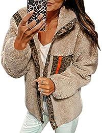 Women Fleece Leopard Coat Long Sleeve Button Down Jackets Winter Lapel Outerwear