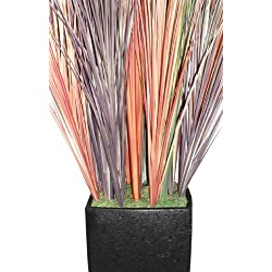 Laura Ashley 48 Inch Tall Realistic Silk Contemporary Onion Grass Plant with Planter