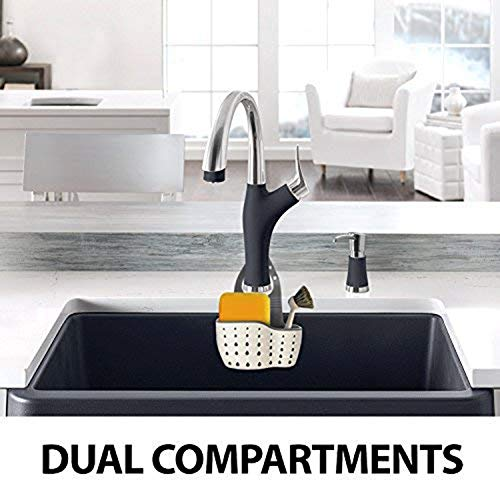 Beaverve 2PCS Sink Caddy, Silicone Sponge Holder for Kitchen Sink, Faucet Caddy with Adjustable Strap, Kitchen Plastic Sink Caddy Sponge Holder, Antimicrobial Drain Holes for Sanitary Drying
