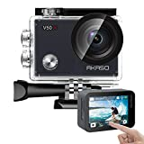 AKASO V50X Native 4K30fps WiFi Action Camera with EIS Touch Screen 4X Zoom 131 feet Waterproof Camera Support External Mic Remote Control Sports Camera with Helmet Accessories Kit