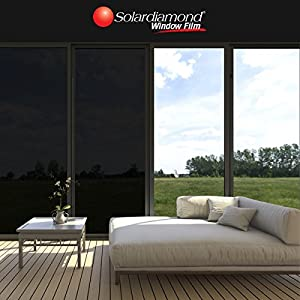 SOLARDIAMOND Window Film Privacy Heat Control Sun Blocking Insulation Film Decorative Residential UV Protection Window Tint Roll for Glass for Home Meeting Living Room & Car | 5% Dark Black 60inX10ft