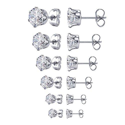 JDGEMSTONE Christmas Gift Square Cubic Zirconia Stud Earring for Women Jewellery Earrings Set Birthday Anniversary for Men Women Friend 6 Pairs Earrings Tone Earrings Stainless Steel Earrings