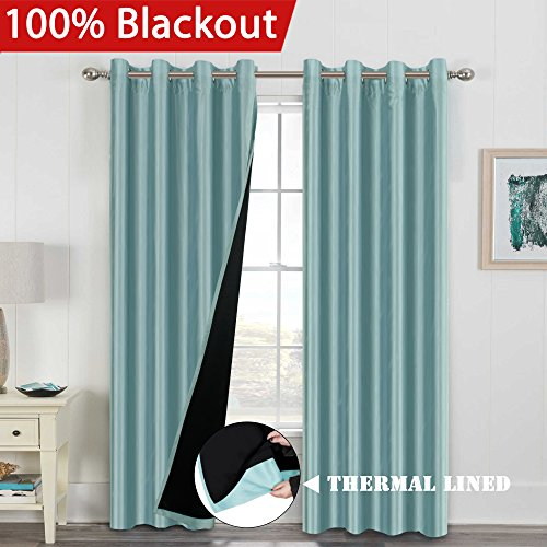 Premium Full Blackout Lined Curtains Energy Efficient Curtain Panels for Living Room (Pair) Extra Long Window Treatment Nickel Grommet Draperies for Large Window Door (52x108 Inch - Eggshell Blue)