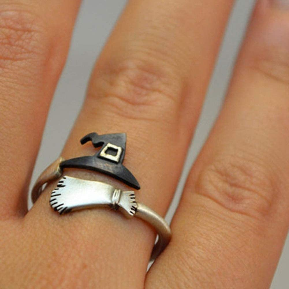shiYsRL Exquisite Jewelry Ring Love Rings Cute Women Halloween Witch Hat Broom Open Finger Ring Adjustable Jewelry Gift Wedding Band Best Gifts for Love with Valentines Day