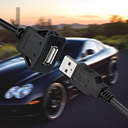 Davitu Cables Adapters /& Sockets 1m//3.3ft USB2.0 A Male Premium Material to Black USB2.0 A Female Car Panel Flush Mount Extension Cable