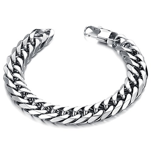 Paialco Stainless Steel Cuban Curb Link Bracelet 14mm Width, 8.5
