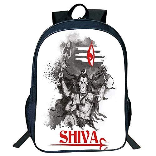 - DKFDS Backpacks Unisex School Students Ethnic,Religious Figure Ethnic Religion Holding Trident Red Eye on Stripes Artistic,Grey Red White Kids,