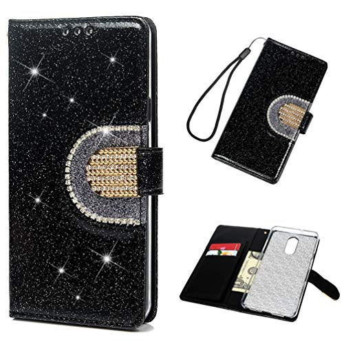 LG Stylo 4 Case, Glitter Diamond Series Case PU Leather Automatic Closing Soft Inner TPU Bumper Flip Protective Case with Mirror for LG Stylo 4 ZSTVIVA - Black