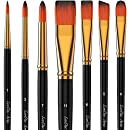 LorDac Arts Paint Brush Set — 7 Artist Brushes for Acrylic, Oil, Watercolor, Gouache and Plein Air Painting — Short Handles — Lightweight Professional Travel Case