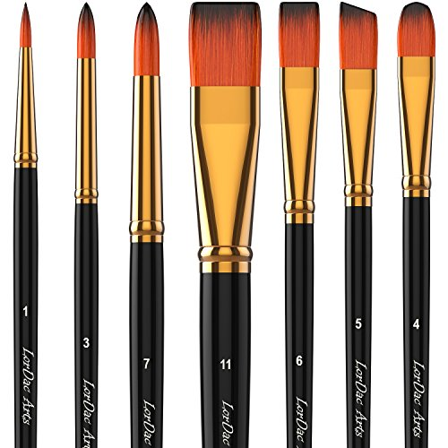 LorDac Arts Paint Brush Set, 7 Artist Brushes for Painting with Acrylic, Oil and Watercolor. Professional Art Quality on Canvas, Wood, Face and Models. Includes Carrying Case Travel ()