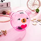 Selric Girlwill Crystal Clear Piggy Bank Pink Bear-shaped Coin Box for Adults & Girls with Drawstring Bag 4.9'' 4.9'' 5.5'' [Food Grade Plastic]