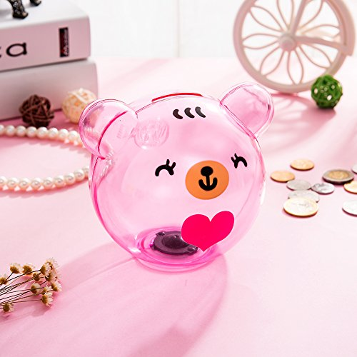 Selric Girlwill Crystal Clear Piggy Bank Pink Bear-shaped Coin Box for Adults & Girls with Drawstring Bag 4.9